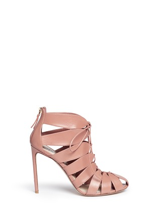 Main View - Click To Enlarge - Francesco Russo - Caged kid leather sandal booties