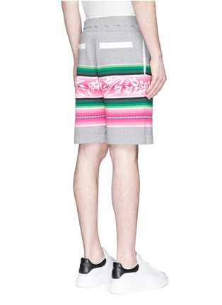 Back View - Click To Enlarge - Sacai - Baja floral stripe intarsia sweat shorts