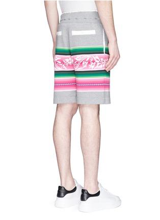 Back View - Click To Enlarge - Sacai - Baja floral stripe intarsia sweat shorts
