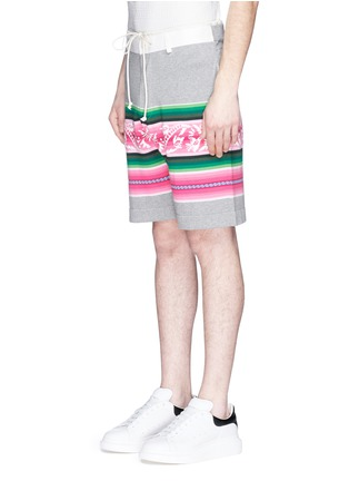 Front View - Click To Enlarge - Sacai - Baja floral stripe intarsia sweat shorts