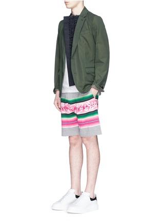 Figure View - Click To Enlarge - Sacai - Baja floral stripe intarsia sweat shorts