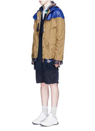Sacai - Leather Western yoke storm flap field jacket