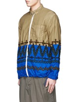 Leaf embroidery contrast hem shirt jacket