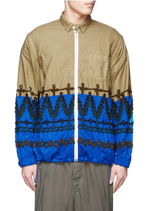Main View - Click To Enlarge - Sacai - Leaf embroidery contrast hem shirt jacket