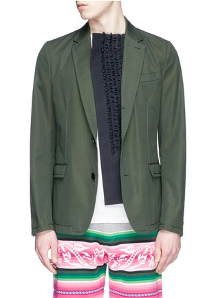 Main View - Click To Enlarge - Sacai - Ruffle underlay Cavalry twill blazer