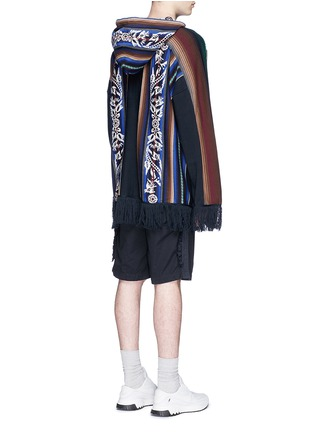 Back View - Click To Enlarge - Sacai - Baja floral stripe intarsia poncho