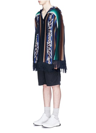 Front View - Click To Enlarge - Sacai - Baja floral stripe intarsia poncho