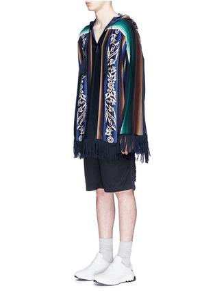 Sacai-Baja floral stripe intarsia poncho