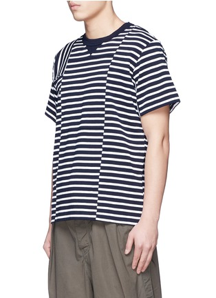 Front View - Click To Enlarge - Sacai - Patchwork stripe T-shirt