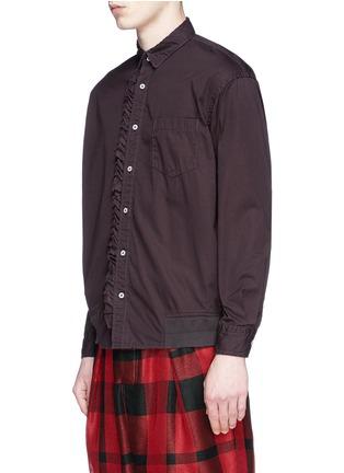 Front View - Click To Enlarge - Sacai - Ruffle rib waist cotton shirt
