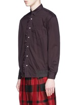 Ruffle rib waist cotton shirt