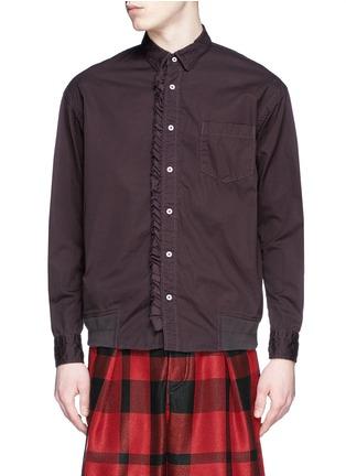 Main View - Click To Enlarge - Sacai - Ruffle rib waist cotton shirt