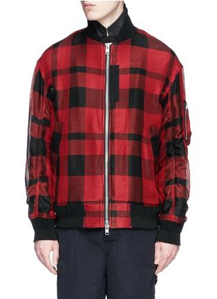 Main View - Click To Enlarge - Sacai - Buffalo check extended underlay bomber jacket