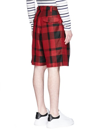Back View - Click To Enlarge - Sacai - Pleated buffalo check shorts