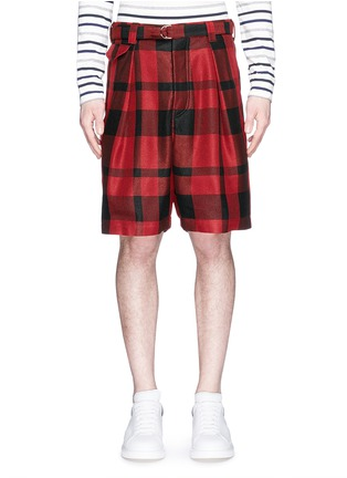 Main View - Click To Enlarge - Sacai - Pleated buffalo check shorts