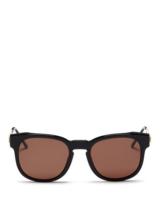 Main View - Click To Enlarge - Thierry Lasry - 'Authority' metal temple marbled corner acetate sunglasses
