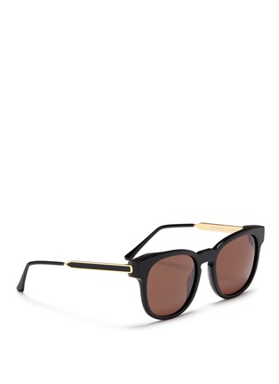 Figure View - Click To Enlarge - Thierry Lasry - 'Authority' metal temple marbled corner acetate sunglasses