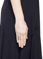 'Berbère' diamond lilac cataphoresis 18k white gold five row ring