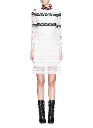 Main View - Click To Enlarge - Giamba - Bug brooch embroidered collar lace dress
