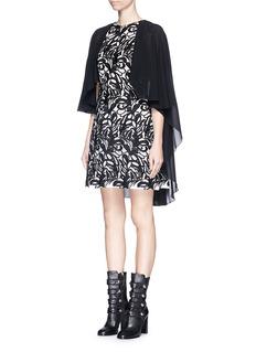 GIAMBAFlower embroidery cape back dress