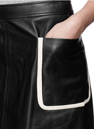 Theory - 'Strailia' contrast binding leather skirt