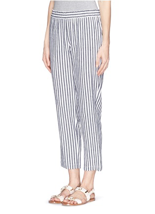Front View - Click To Enlarge - Theory - 'Korita' stripe cotton-linen pants