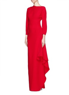 ValentinoAsymmetric neckline cascade ruffle silk gown