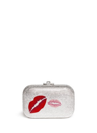 Back View - Click To Enlarge - Judith Leiber - 'Pucker Up Slide Lock' crystal pavé minaudière