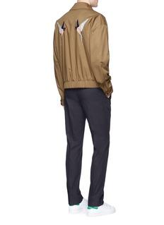 Stella McCartneySwallow appliqué cotton Harrington jacket