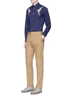 Stella McCartneySwallow embroidered organic cotton twill shirt