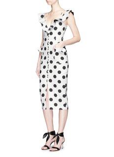 NicholasRuffle polka dot cotton-linen midi dress