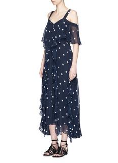 NicholasRuffle polka dot cold shoulder silk dress