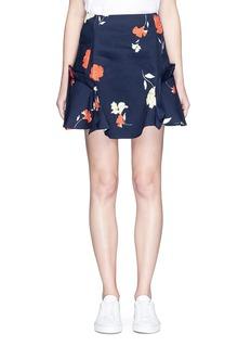 NicholasRuffle trim floral print mini skirt