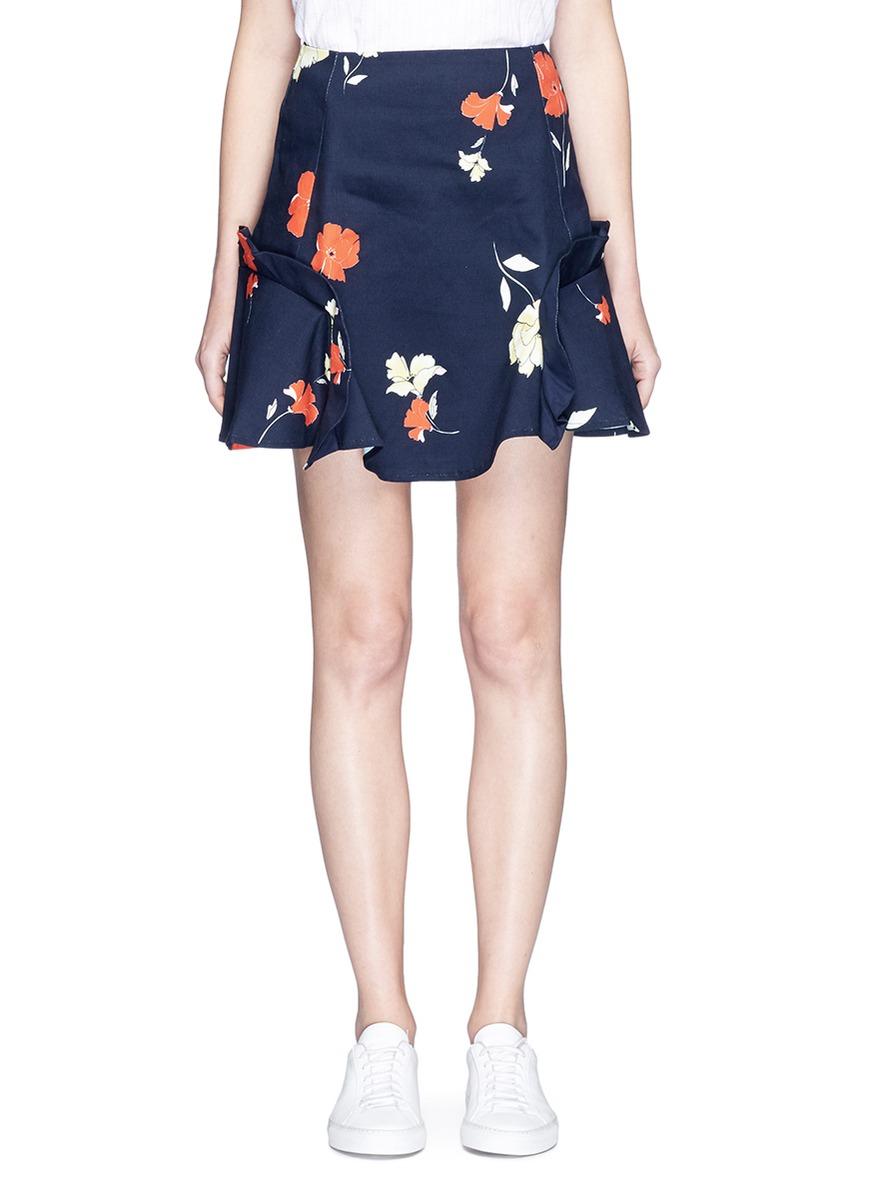 Ruffle trim floral print mini skirt by Nicholas