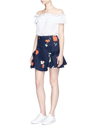 Figure View - Click To Enlarge - Nicholas - Ruffle trim floral print mini skirt