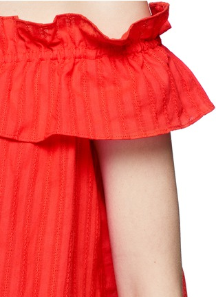 Detail View - Click To Enlarge - Nicholas - 'Sofia' stripe ruffle off-shoulder top