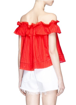 Back View - Click To Enlarge - Nicholas - 'Sofia' stripe ruffle off-shoulder top