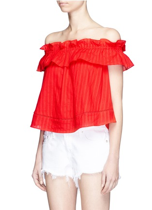 Front View - Click To Enlarge - Nicholas - 'Sofia' stripe ruffle off-shoulder top