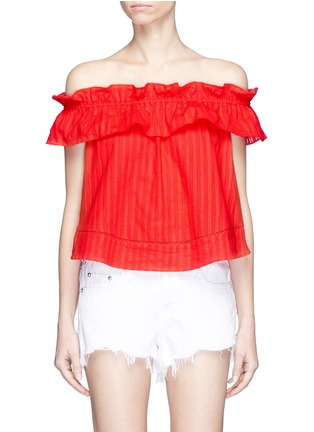 Main View - Click To Enlarge - Nicholas - 'Sofia' stripe ruffle off-shoulder top