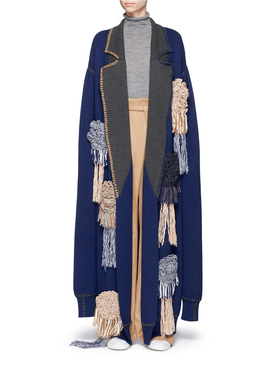 Floral appliqué cashmere rib knit coat by HELEN LEE