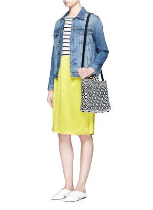 Front View - Click To Enlarge - Truss - Small woven diamond PVC shoulder bag