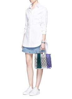 TrussSmall woven stripe diamond PVC shoulder bag