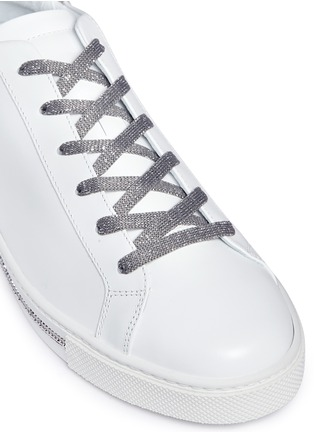 Detail View - Click To Enlarge - René Caovilla - Strass pavé calfskin leather sneakers