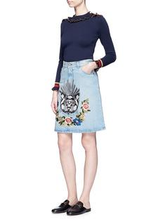 Gucci Cat embroidered denim skirt