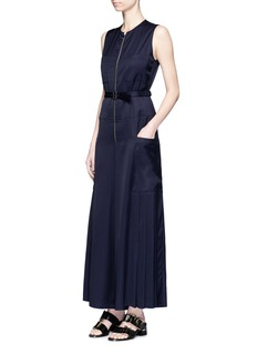 Victoria Beckham Pleated belted satin jumpsuit