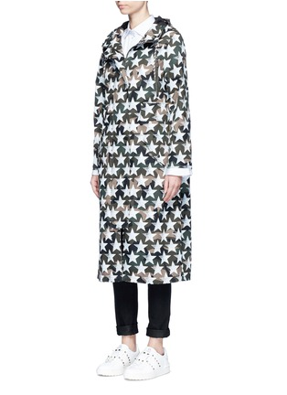 Front View - Click To Enlarge - Valentino - Oversized star print camouflage hooded coat