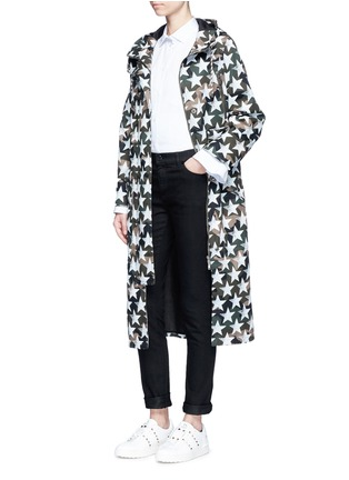 Figure View - Click To Enlarge - Valentino - Oversized star print camouflage hooded coat