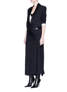 Haider AckermannSateen drape shawl lapel crepe coat