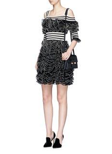 Alexander McQueen Stripe panel ruffled mesh knit cold shoulder dress