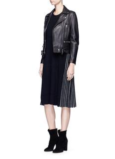 MO&CO. EDITION 10拼接设计羊毛针织连衣裙